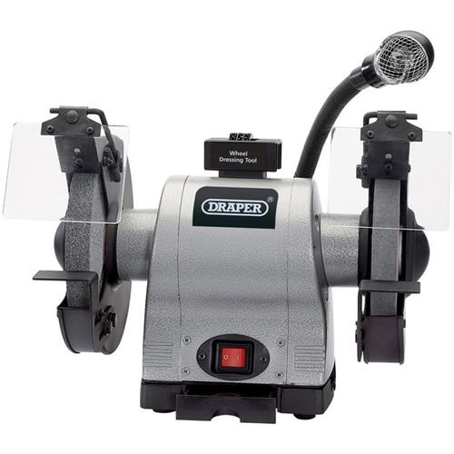 Draper 05097 200mm Heavy Duty Bench Grinder with Worklight (550W)