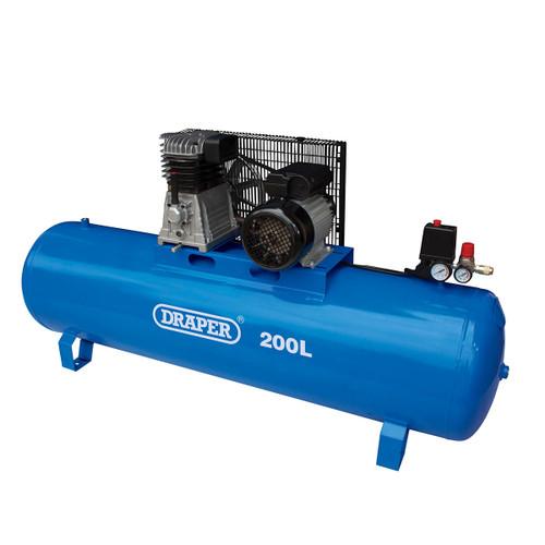 Draper 55313 Stationary Belt-Driven Air Compressor 200L 2.2kW