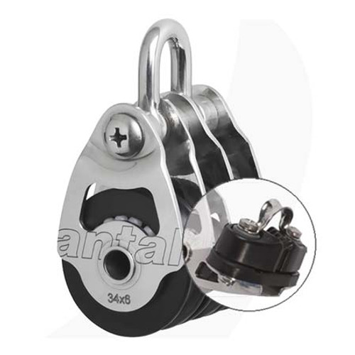 Antal 00305/C 34mm Triple Shackle Block with Cleat