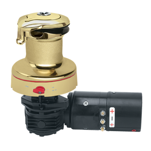 Harken Radial Rewind Electric Size 40 Polished Bronze Winch Horizontal 24 Volt DF Control Box