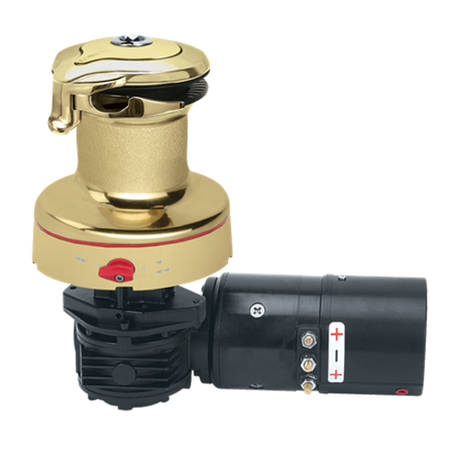 Harken Radial Rewind Electric Size 60 Polished Bronze Winch Horizontal 24 Volt DF Control Box