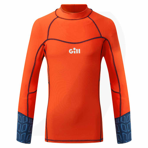 Gill Junior Pro Rash Vest Long Sleeve Orange 5020J Front View