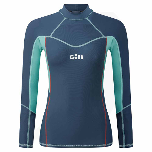 Gill Womens Pro Rash Vest Long Sleeve Ocean 5020W Front View