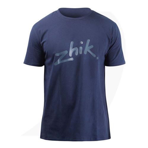 Zhik Mens Zhik Logo Cotton Tee White ATE-0730-Navy Blue Front