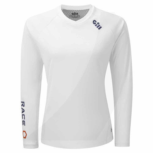 Gill Women's Race Long Sleeve Tee White RS37W Front View