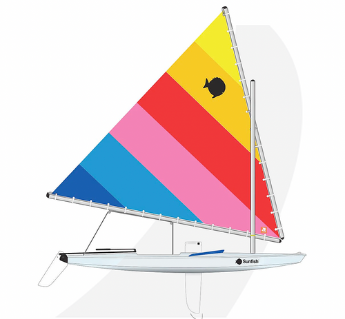 Laser Performance Sunfish, Ice Blue, Navy Coaming