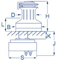 RA2028004100 Andersen 28ST Winch Compact Below Deck 12V