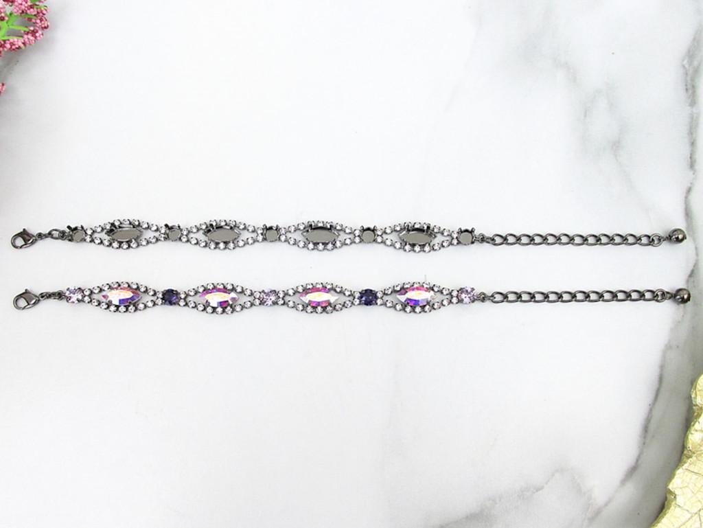 6mm & 15mm x 7mm Navette | Crystal Halo Bracelet