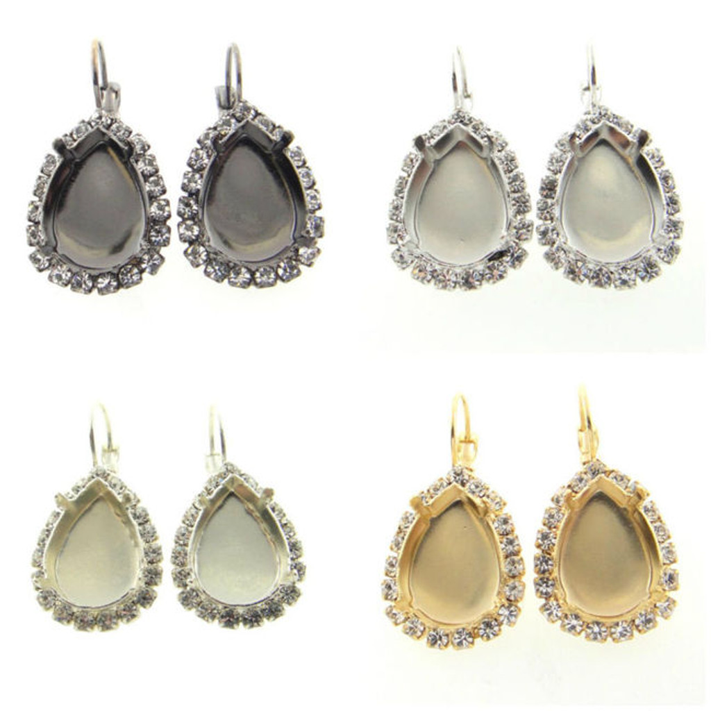 18mm x 13mm Pear Crystal Halo Drop Earring different finishes