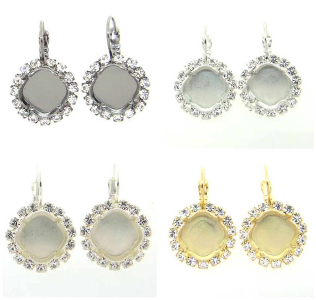 12mm Square Crystal Halo Drop Earrings different finishes
