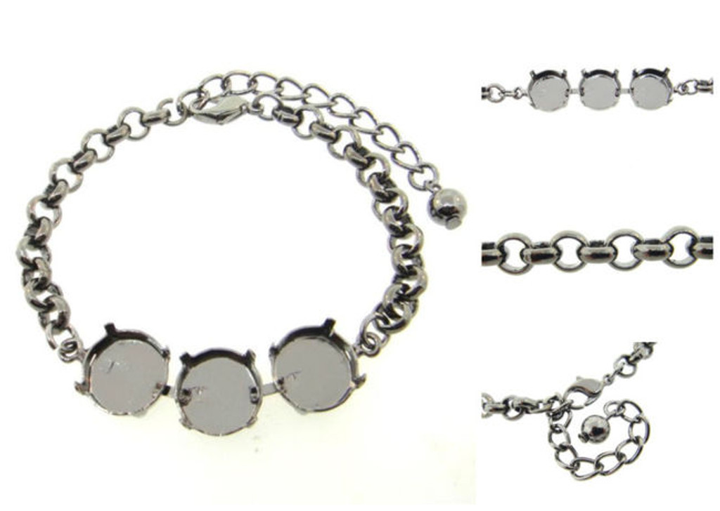 Empty 3 Box Bracelets Smooth Rolo Chain 12mm Round