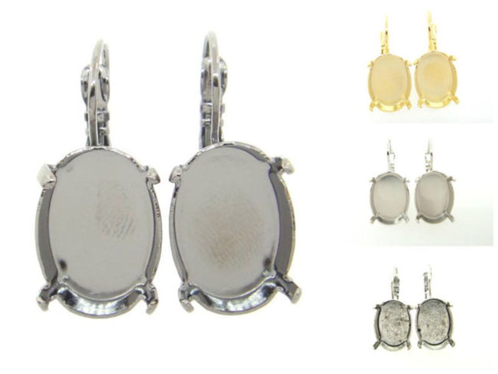 18mm x 13mm Oval Drop Earrings different finishes