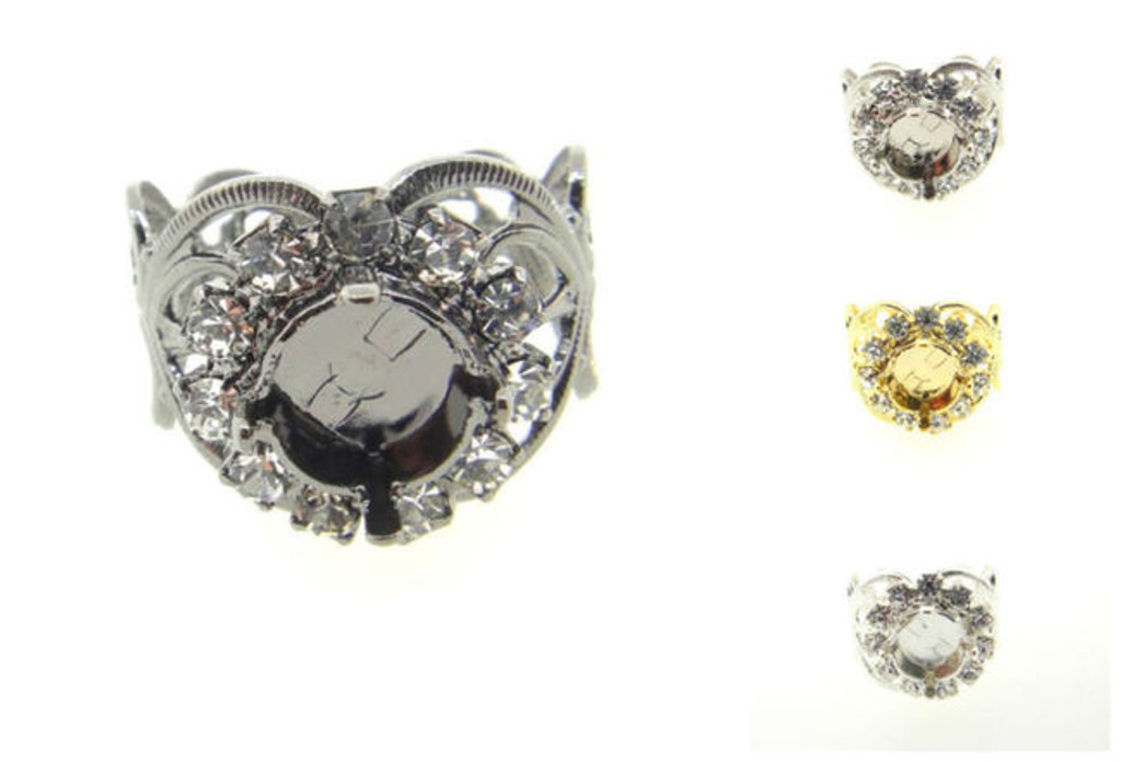 Filigree Ring With Empty 8.5mm (39ss) Setting & Crystal Rhinestones