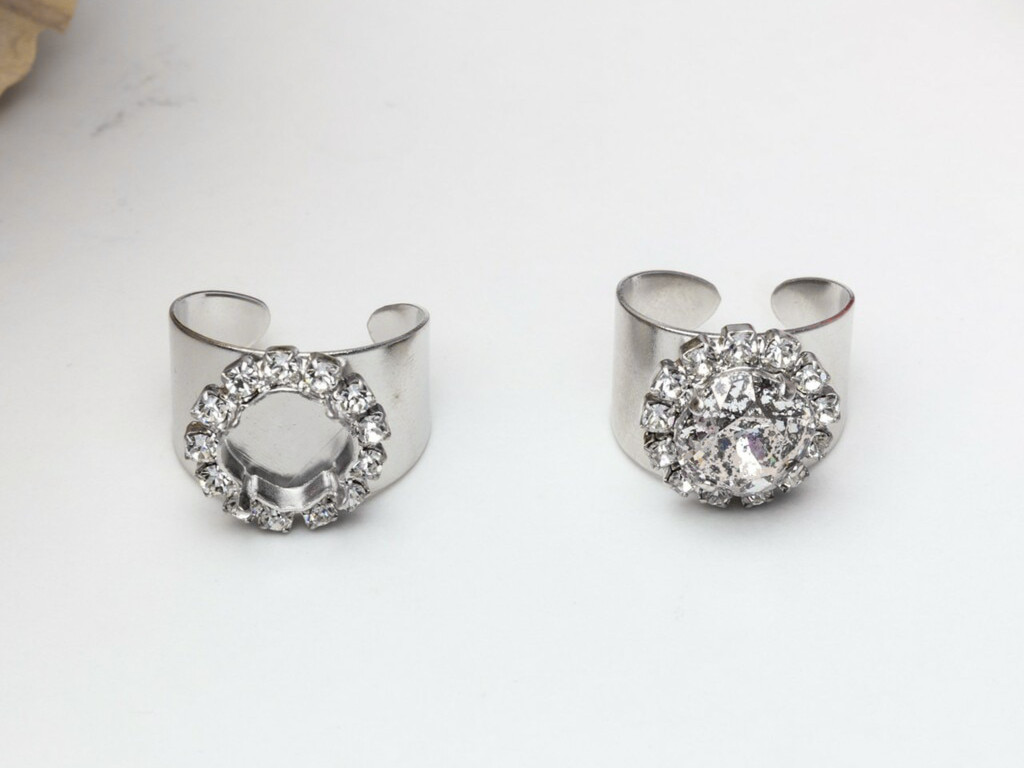 10mm Square | Crystal Halo Wide Band Adjustable Ring | Three Pieces