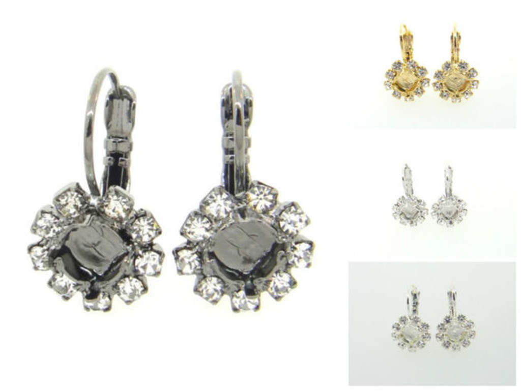 6mm Crystal Halo Drop Earring different finishes