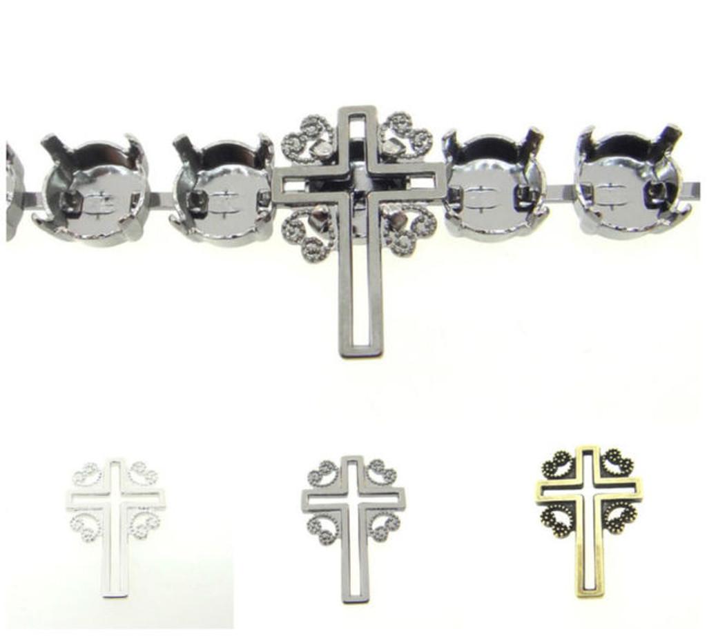 8.5mm | Filigree Cross Element | Six Pieces