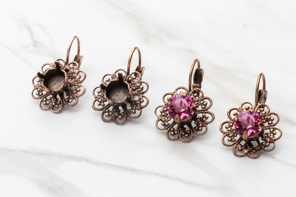 8.5mm Round Filigree Drop Earring