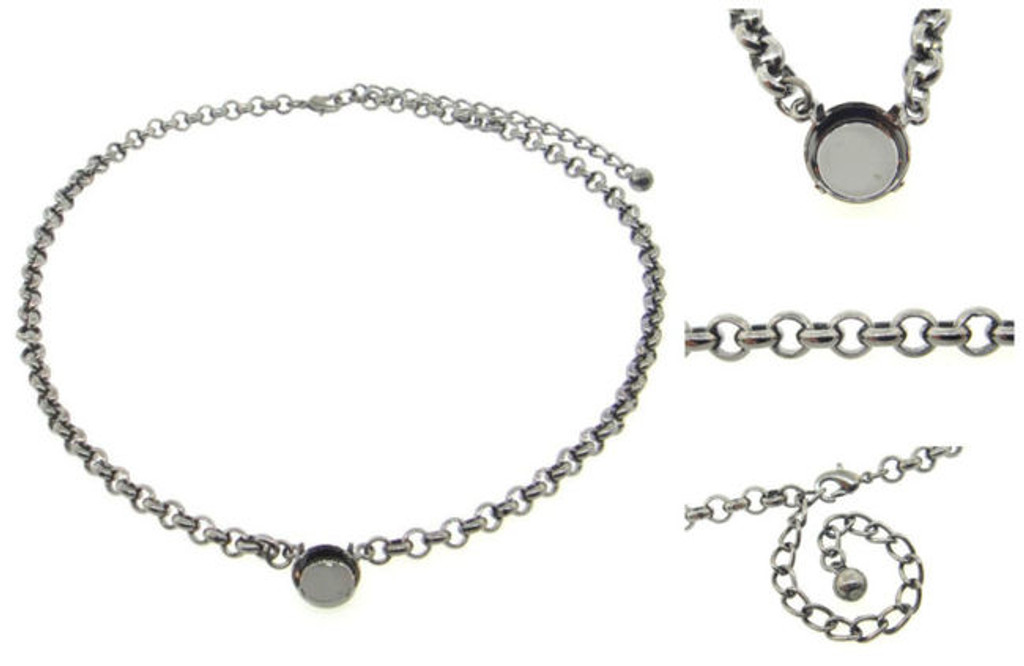 12mm Rivoli Round Single Pendant Empty Necklaces 3 Pieces - Smooth Or Textured Rolo Chain