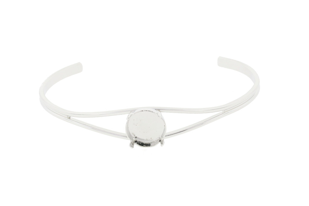 12mm Rivoli Round Empty Cuff Bracelet in Rhodium