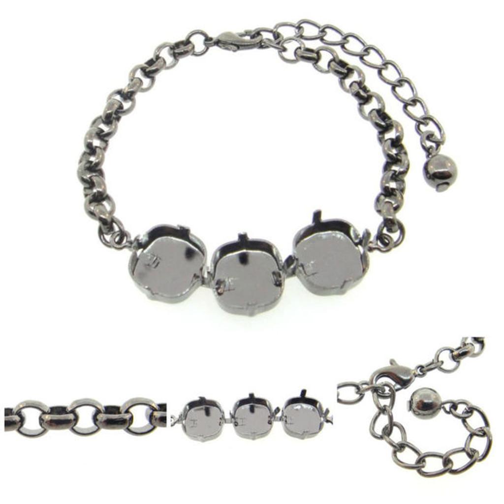 12mm Square | Classic Three Setting Bracelet view 2