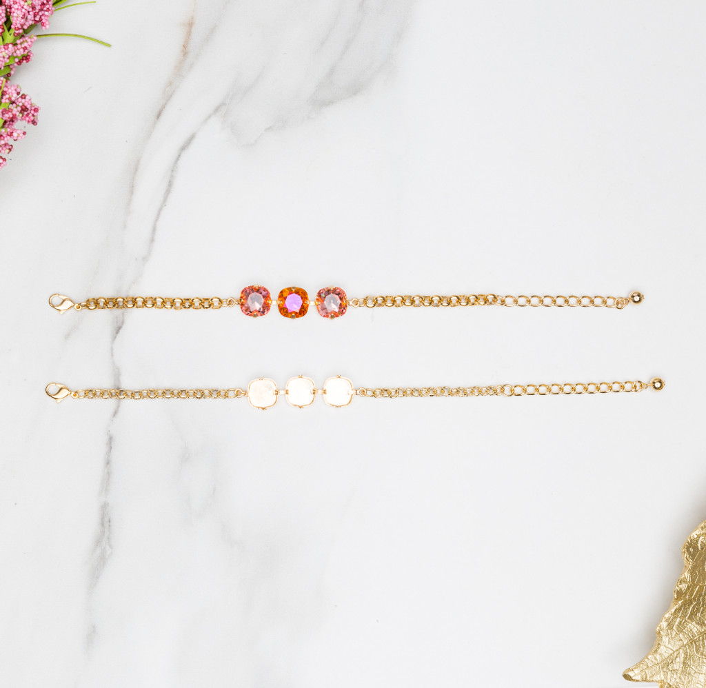 12mm Square | Classic Three Setting Bracelet