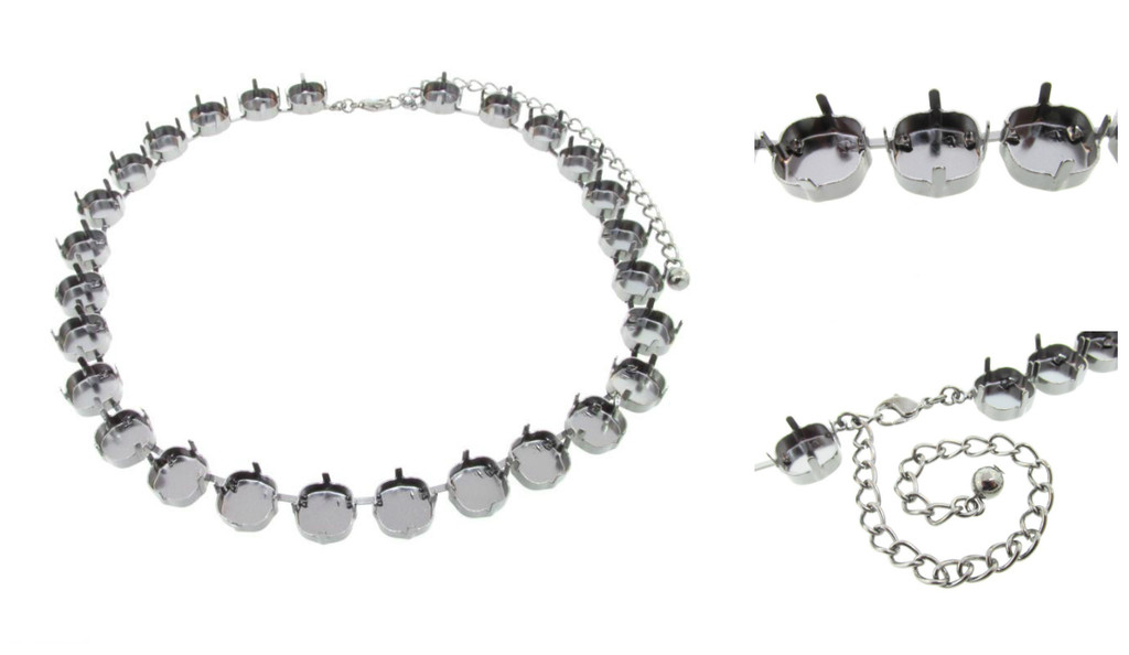 12mm Square | Classic 27 Setting Necklace | Three Pieces