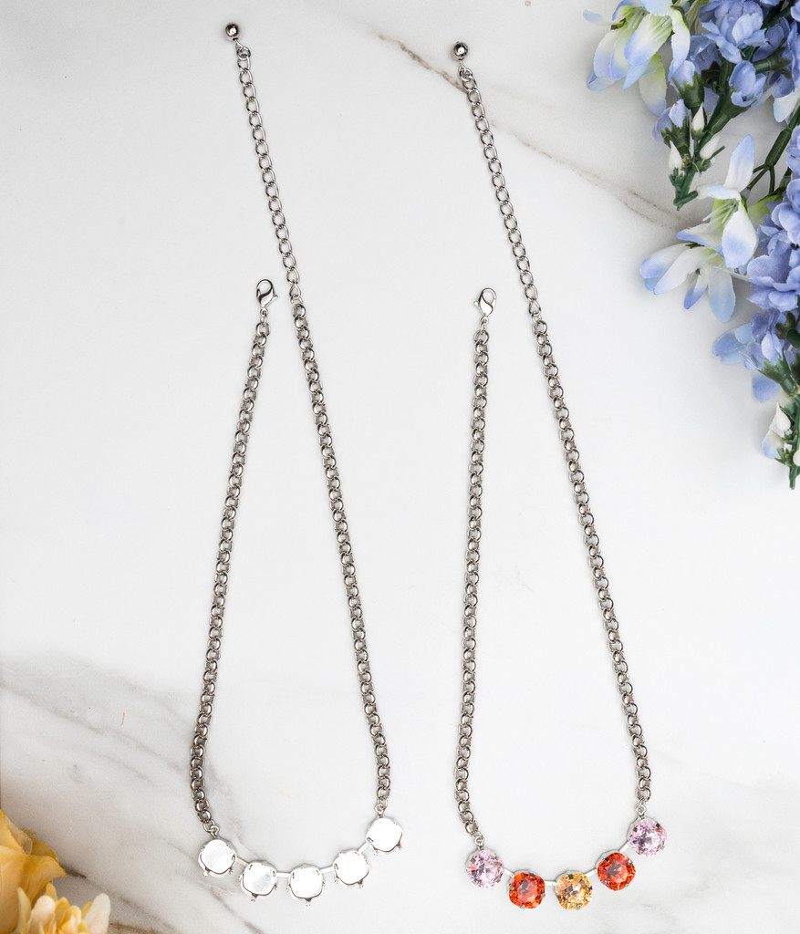 12mm Square   Five Setting Necklace view 2