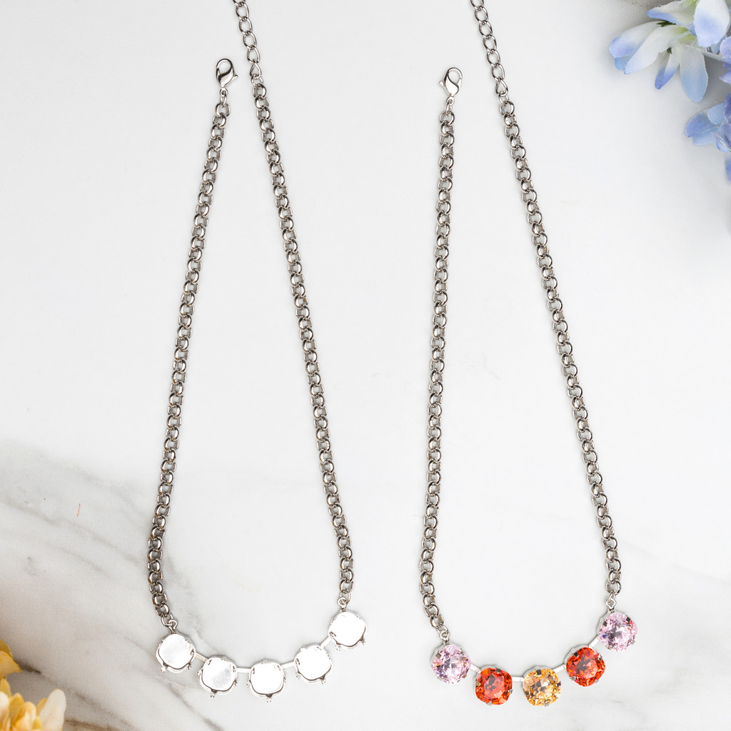 12mm Square | Five Setting Necklace