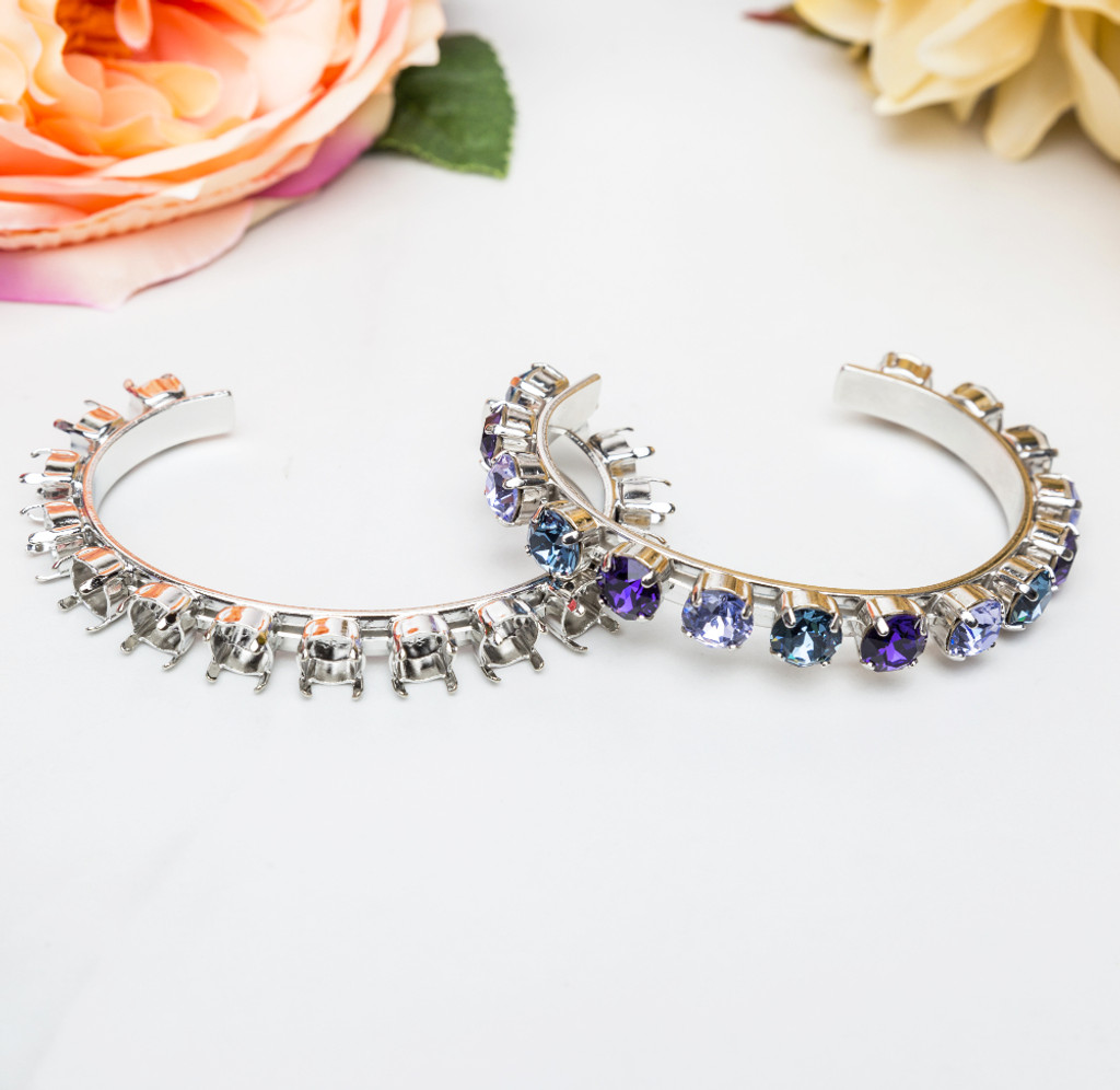 8.5mm | Fifteen Setting Cuff Bracelets | Three Pieces