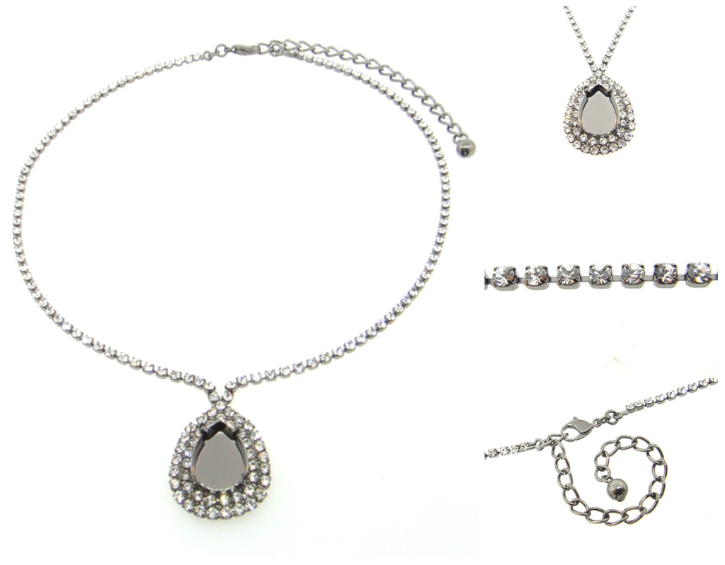 Empty Single Setting Necklace With Crystal Rhinestones 18x13mm Pear