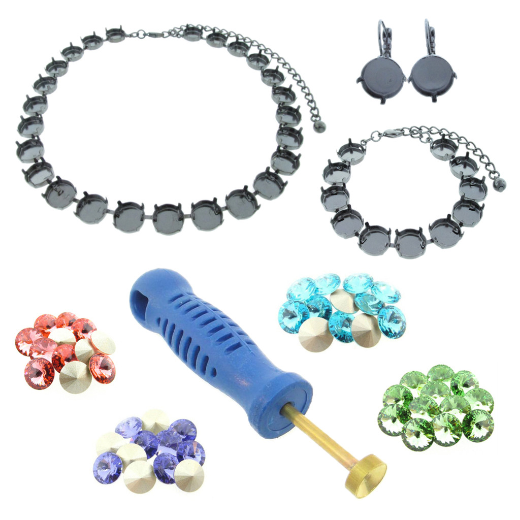 12mm Rivoli Round Empty Cup Chain Starter Kit - Choose Your Finish & Stone Colors