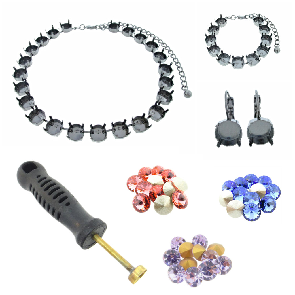 11mm Empty Cup Chain (Jewelry Blanks) Starter Kit - Choose Your Finish & Stone Colors