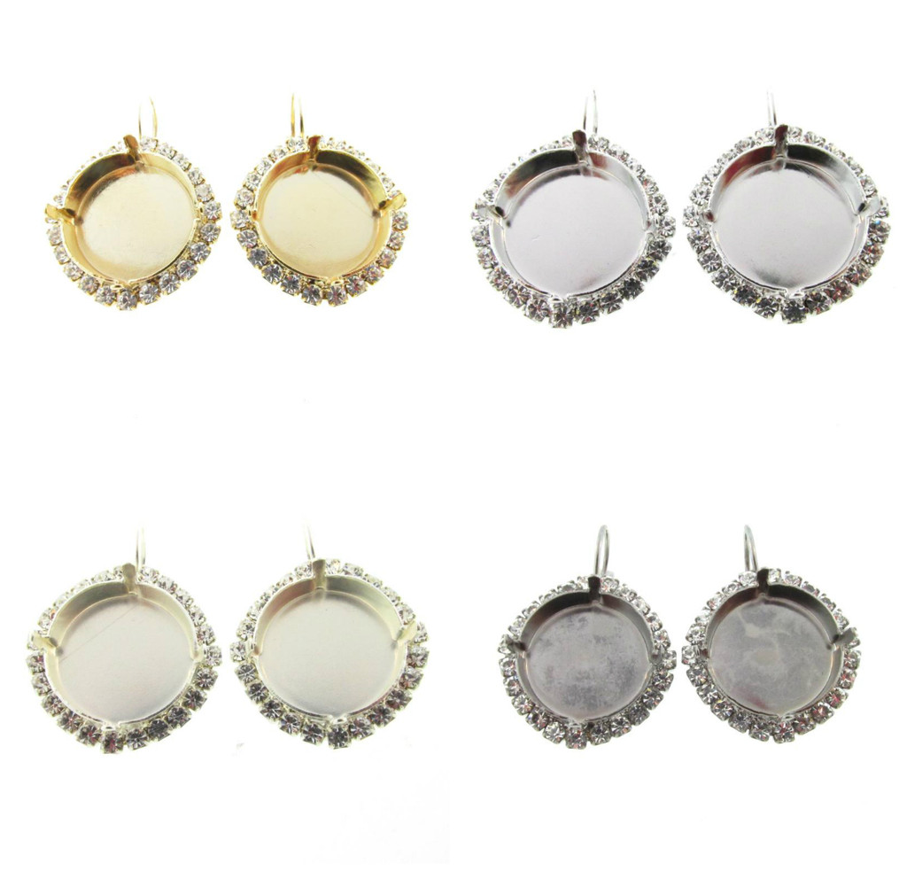 18mm Round Crystal Halo Drop Earring different finishes