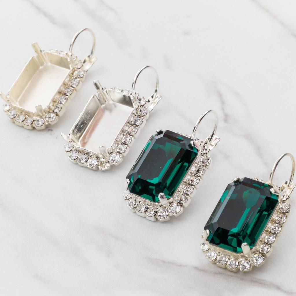 18mm x 13mm Octagon Crystal Halo Earrings