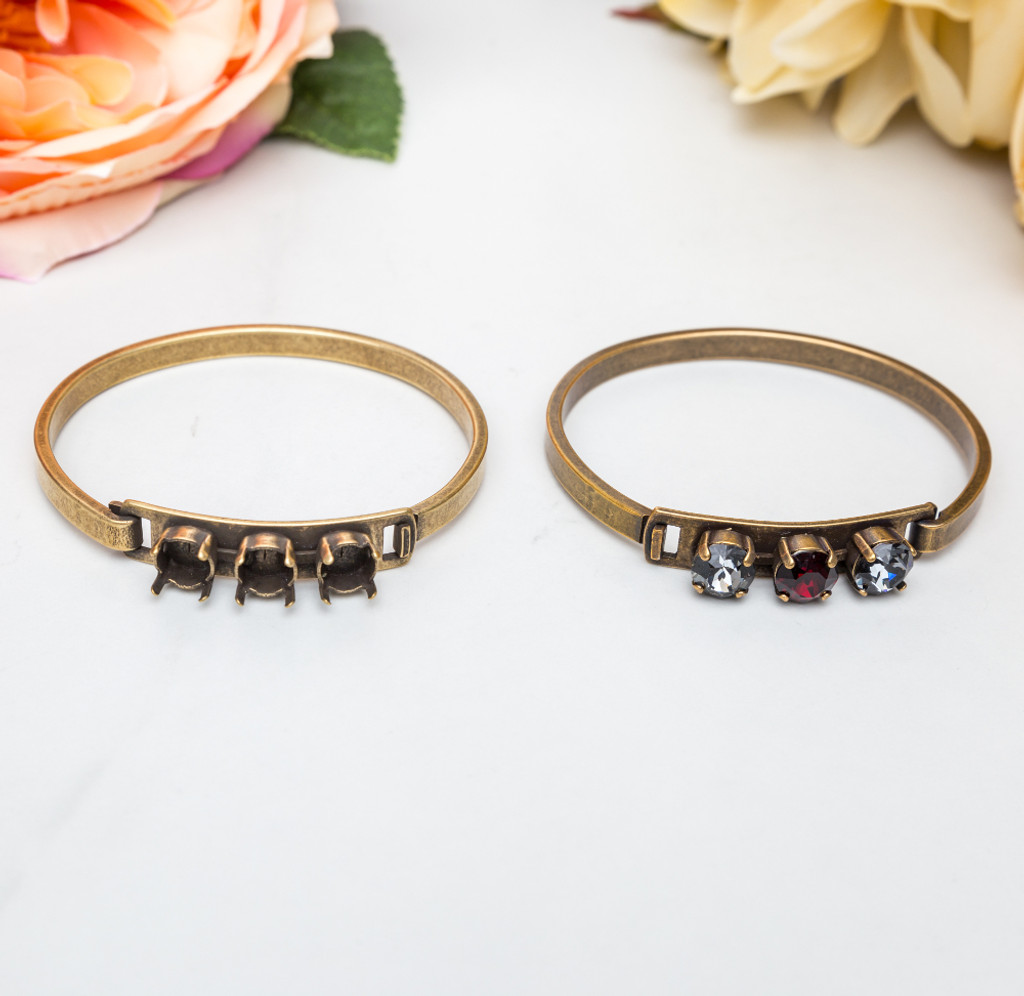 8.5mm | Three Setting ID Bracelet | Three Pieces