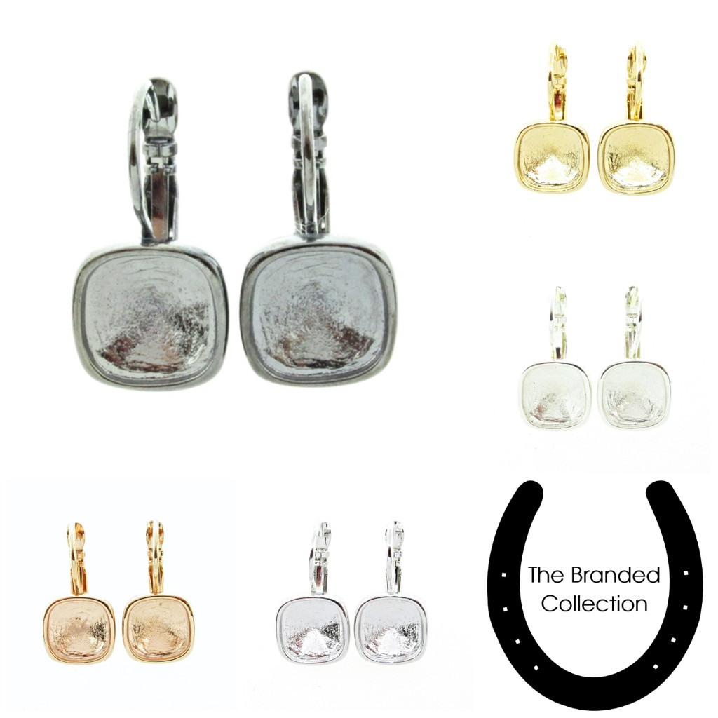 10mm Square Casted Drop Earrings shown in the various finishes