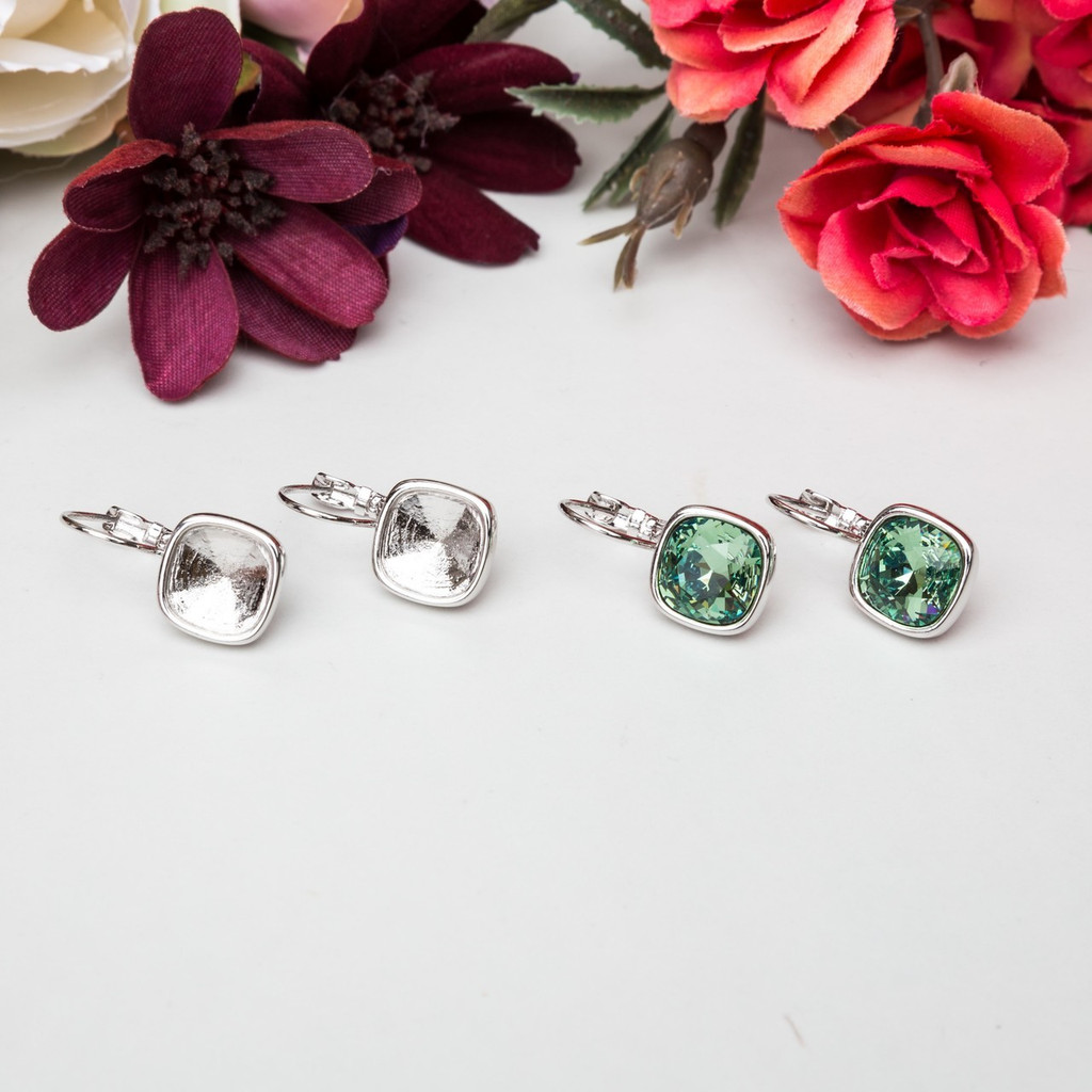 10mm Square | Casted Drop Earrings | One Pair