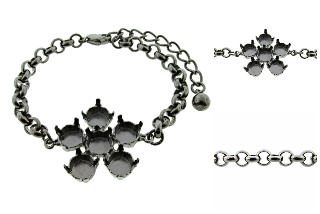 Empty 8.5mm (39ss) Single Flower Bracelet 3 Pieces - Smooth Or Textured Rolo Chain