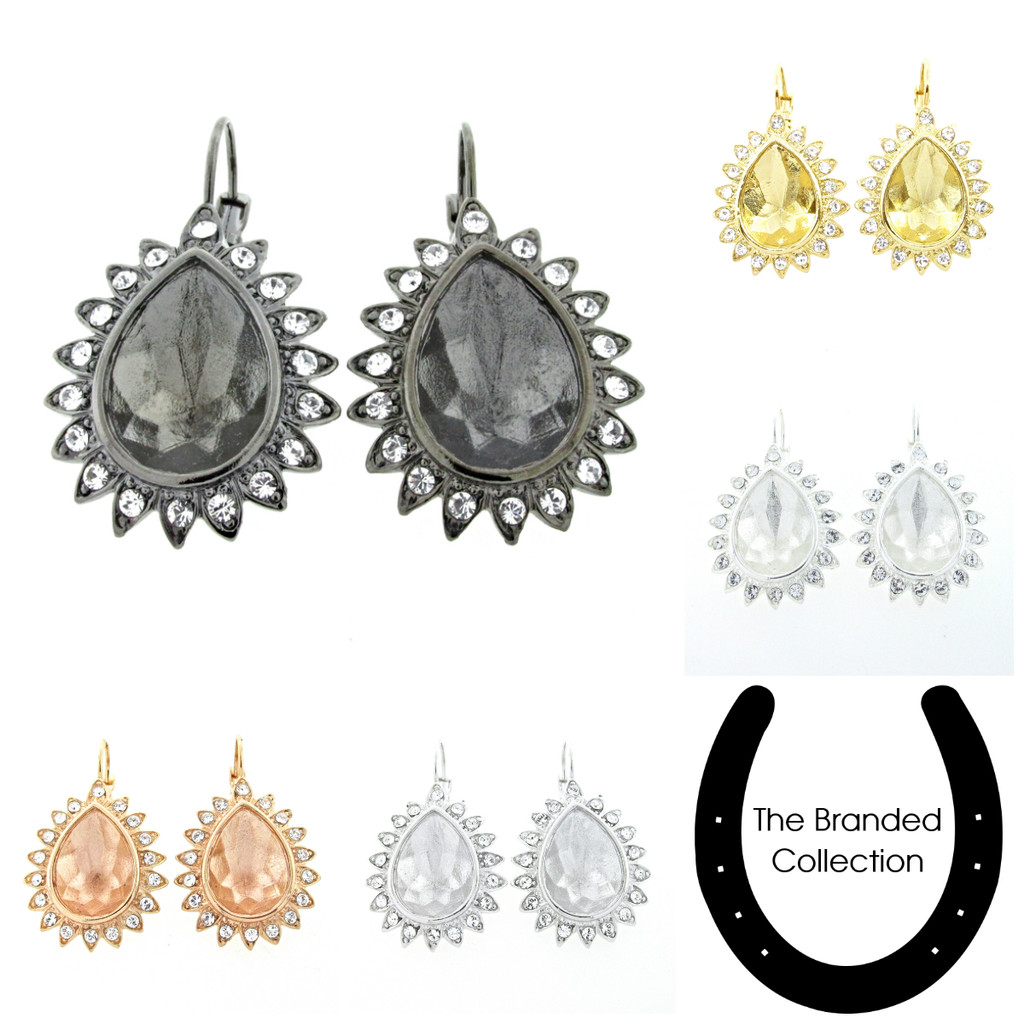 18mm x 13mm Pear   Crystal Halo Casted Drop Earrings   One Pair