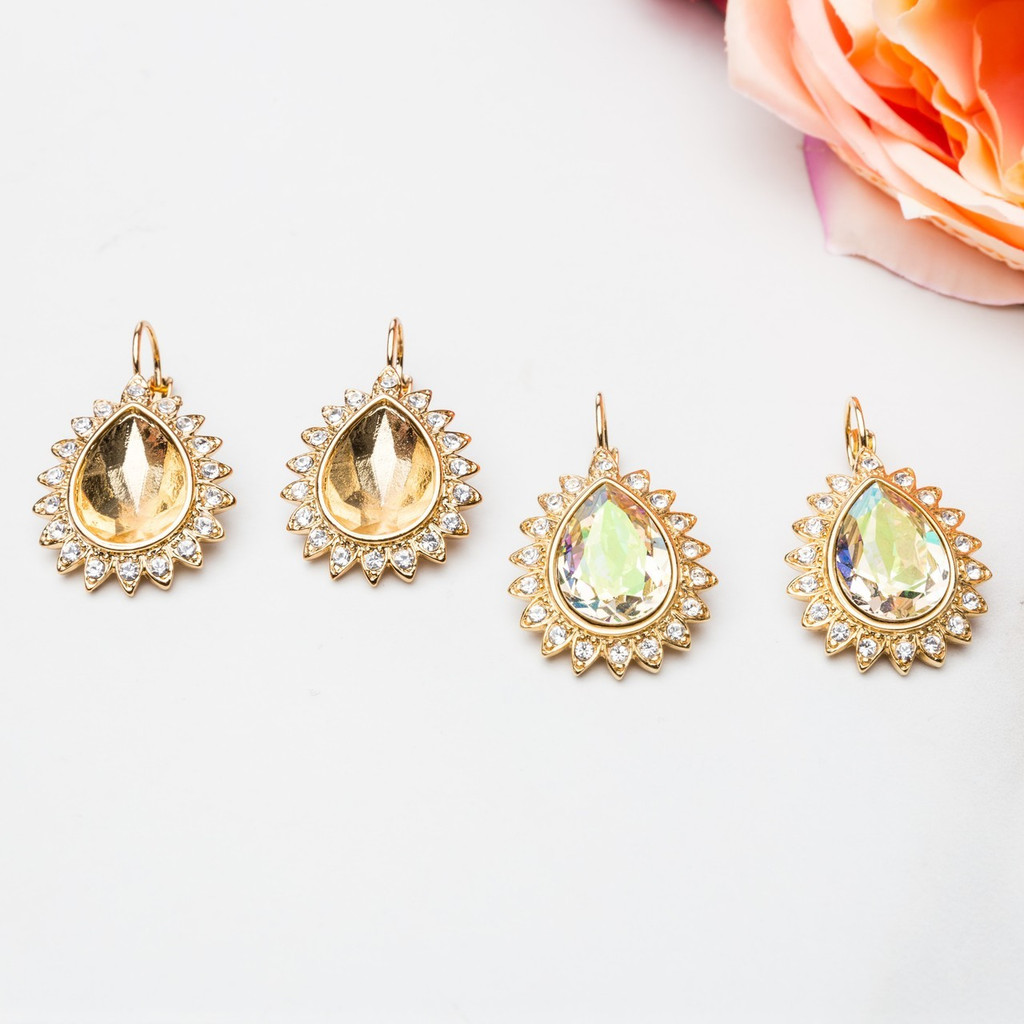 18mm x 13mm Pear | Crystal Halo Casted Drop Earrings | One Pair