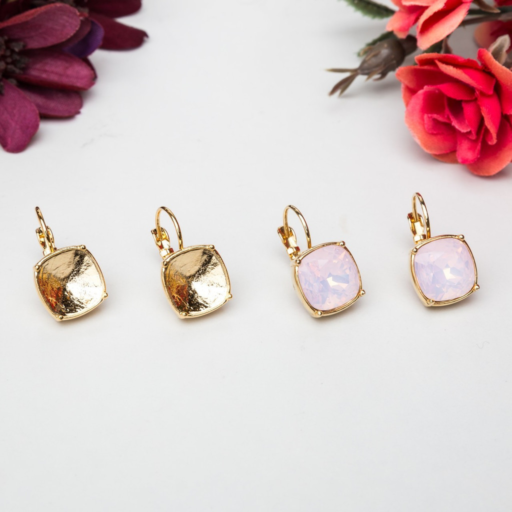 12mm Square   Casted Drop Earrings   One Pair