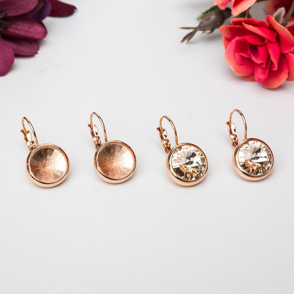 12mm Round   Casted Drop Earrings   One Pair