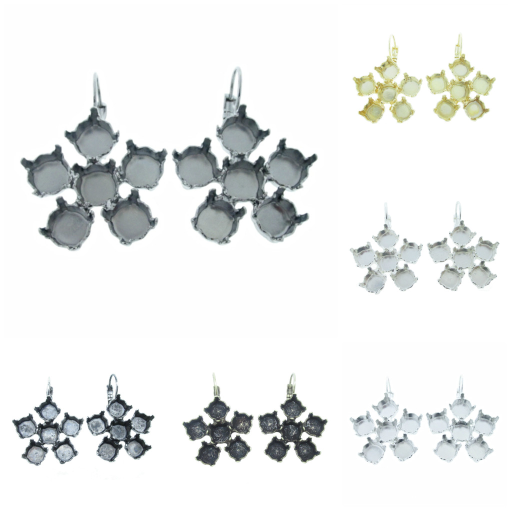 8.5mm Flower Drop Earrings different finishes