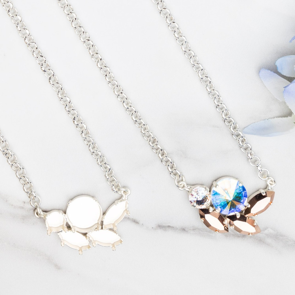 8.5mm, 14mm, & 15mm x 7mm Navette | Mixed Cluster Necklace | One Piece