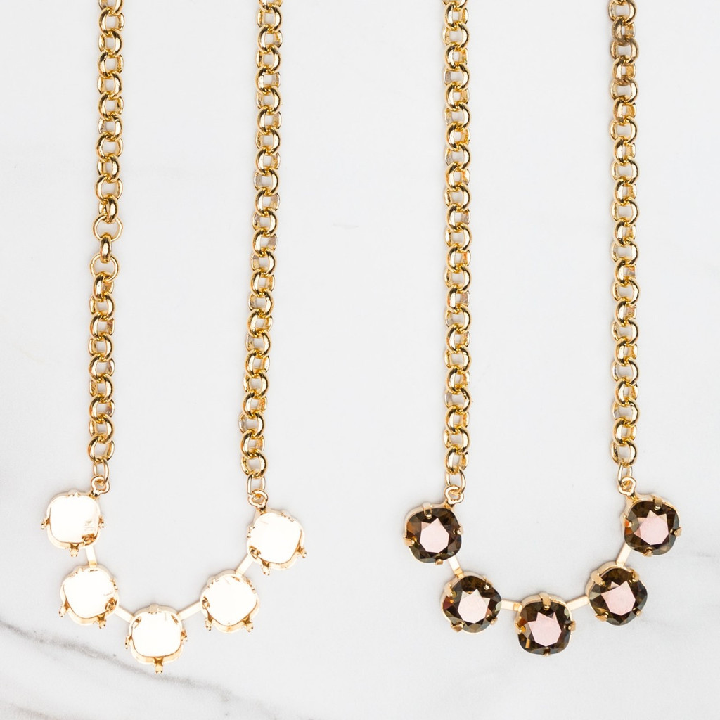 10mm Square   Classic Five Setting Necklace   Three Pieces