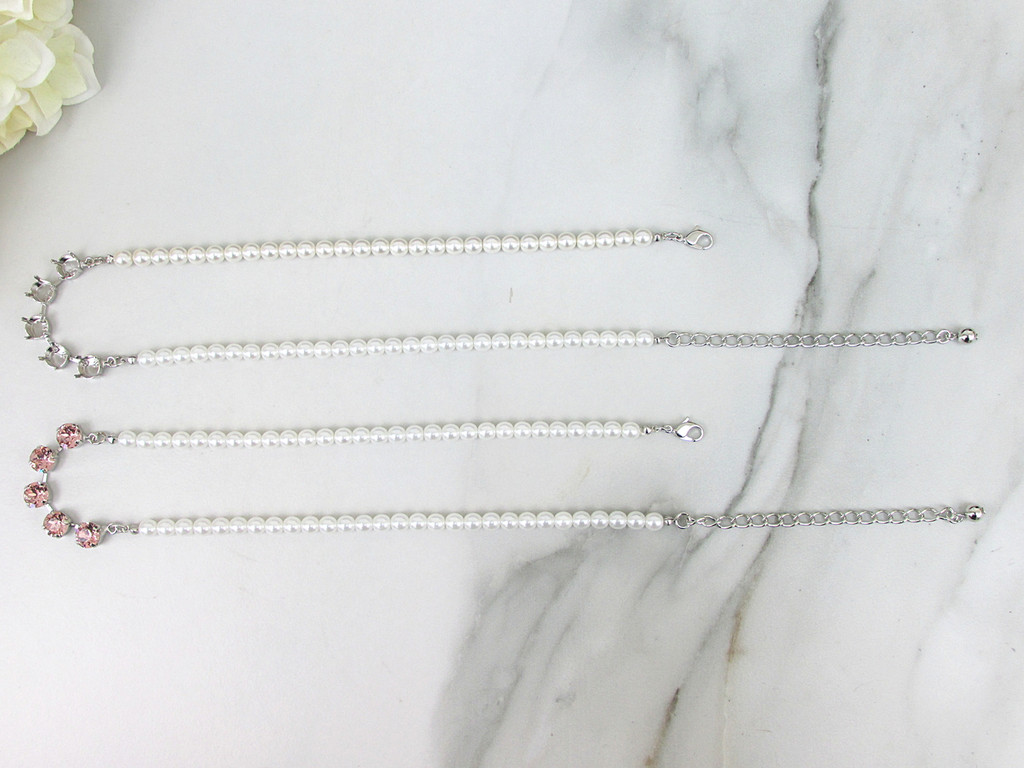 8.5mm | Five Setting Necklace With Faux Pearl Strands | One Piece
