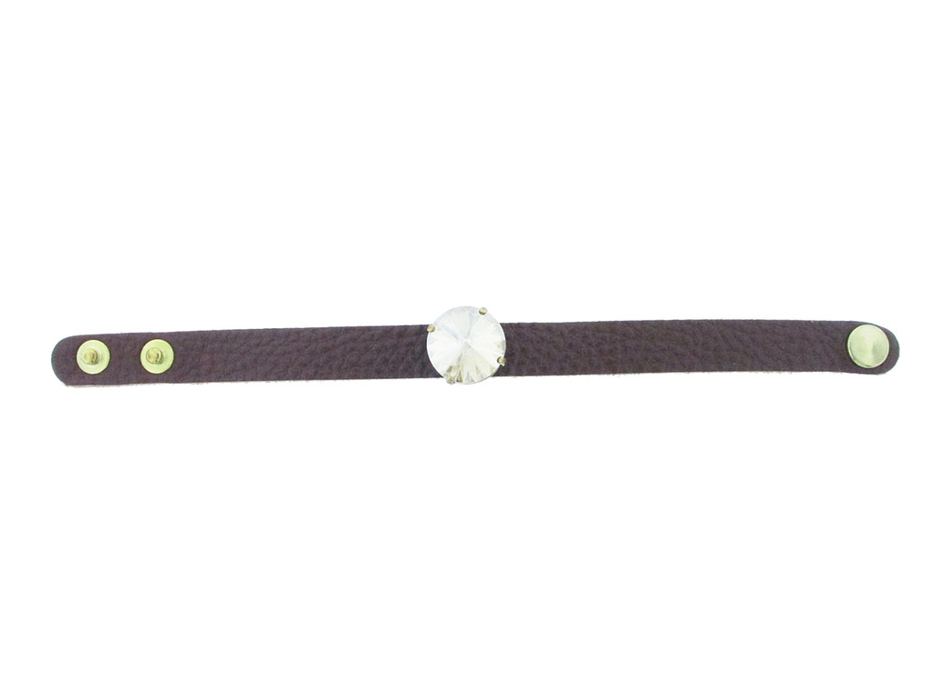 The Branded Leather Line - Classic Leather Bracelet With One 18mm Rivoli Round Riveted Empty Setting Made In The USA