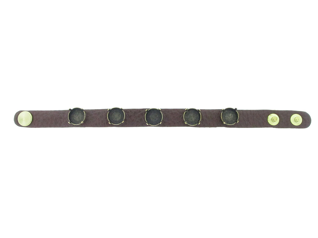 Shown with Brass Ox Settings On The Textured Chestnut Leather Bracelet with Brushed Gold Overlay Snap Closures