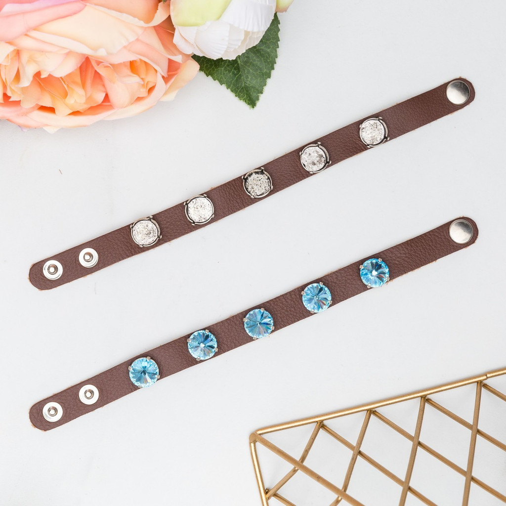 12mm Round | Five Setting Classic Leather Bracelet | One Piece
