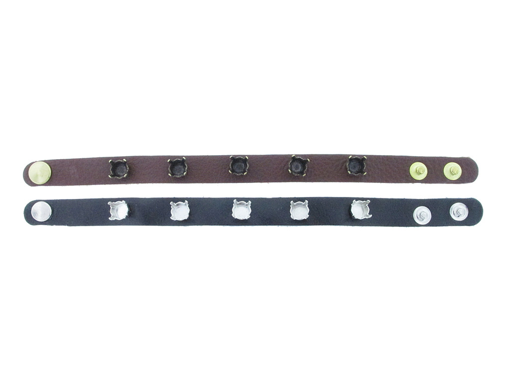 Shown with Brass Ox Settings On A Textured Chestnut Leather Bracelet With Brushed Gold Overlay Snap Closures and Rhodium Settings On A Black Gloss Leather Bracelet With Rhodium Snap Closures
